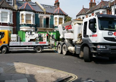 Ready Mix Concrete truck and Pump Hire Truck working in Surrey