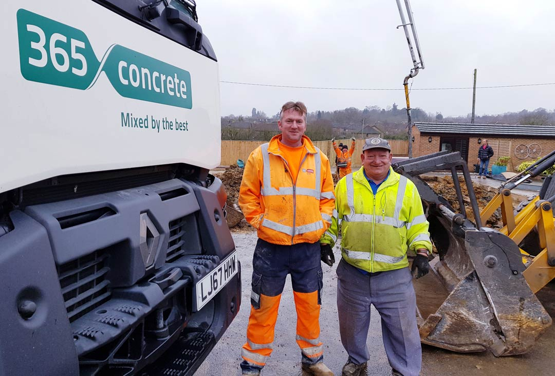 365 Concrete's driver Dan with great customer Goerge
